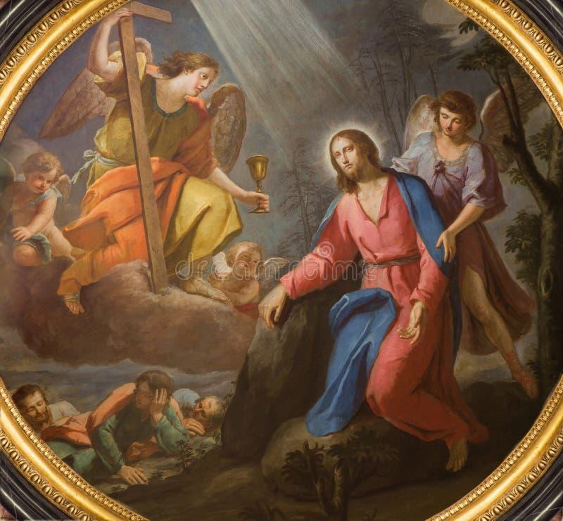 TURIN, ITÁLIA - 15 DE MARÇO DE 2017: Jesus no jardim de Gethsemane na igreja Chiesa di San Francesco da Paola imagem de stock royalty free
