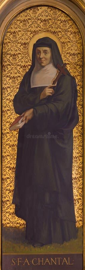 TURIN, ITALIE - 13 MARS 2017 : La peinture de St Jane Frances de Chantal en Di Santo Tomaso de Chiesa d'église photo libre de droits