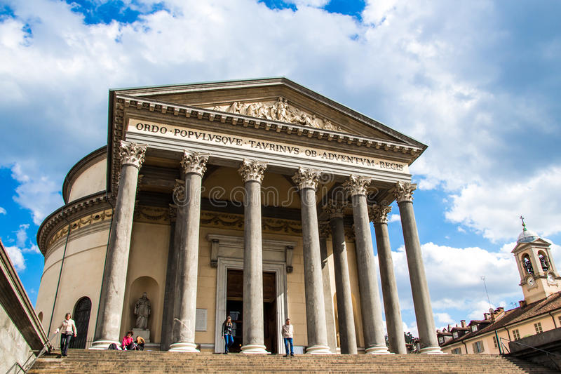 TURIN, ITALIEN - 26. APRIL 2016; Die Kirche von Gran Madre di Dio I lizenzfreies stockbild