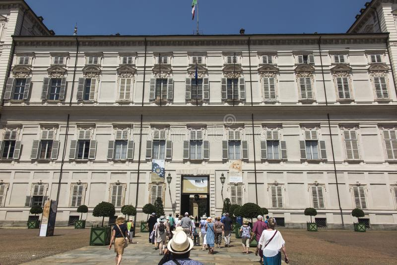 Turin, Italien, am 27. Juni 2019: Royal Palace von Turin- oder Palazzo-Reale Di Torino ist ein historischer Palast in Turin-Stadt stockbild