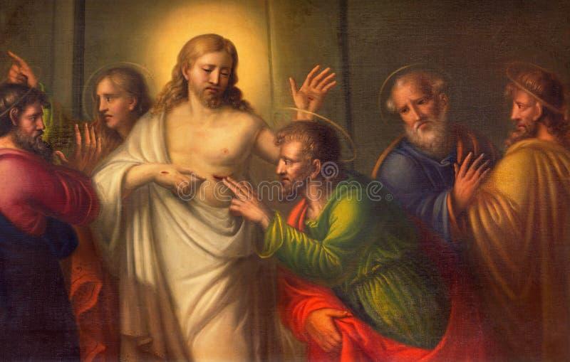 TURIN ITALIEN - MARS 13, 2017: Målningen tvivlet av St Thomas i kyrkliga Chiesa di Santo Tomaso arkivbilder