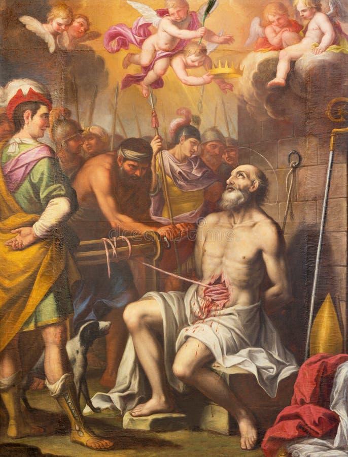 TURIN ITALIEN - MARS 13, 2017: Paintinen av tortyr av tidig kristen bischop i kyrkliga Chiesa di Santa Teresa arkivfoto