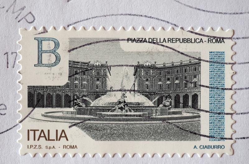 Stamp of Italy in Turin. TURIN, ITALY - CIRCA DECEMBER 2017: a class B stamp printed by Italy showing Piazza della Repubblica square in Rome stock images