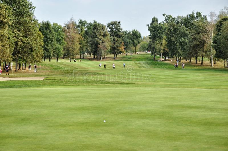 Turin Italy circa September empty golf course green and fairway panoramic view. Turin Italy circa September 2015 empty golf course green and fairway panoramic stock photos