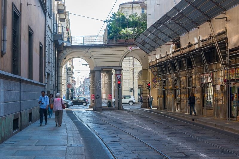 Via Po street. One of the most important street in Turin royalty free stock photography