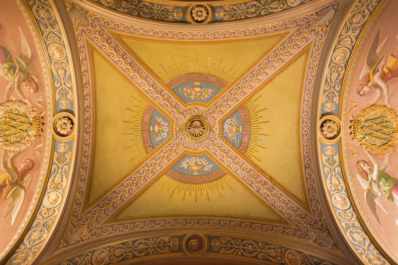 TURIN, ITALY - MARCH 15, 2017: The detail of fresco on the ceiling in church Basilica Maria Ausiliatrice by unknown artist stock photos