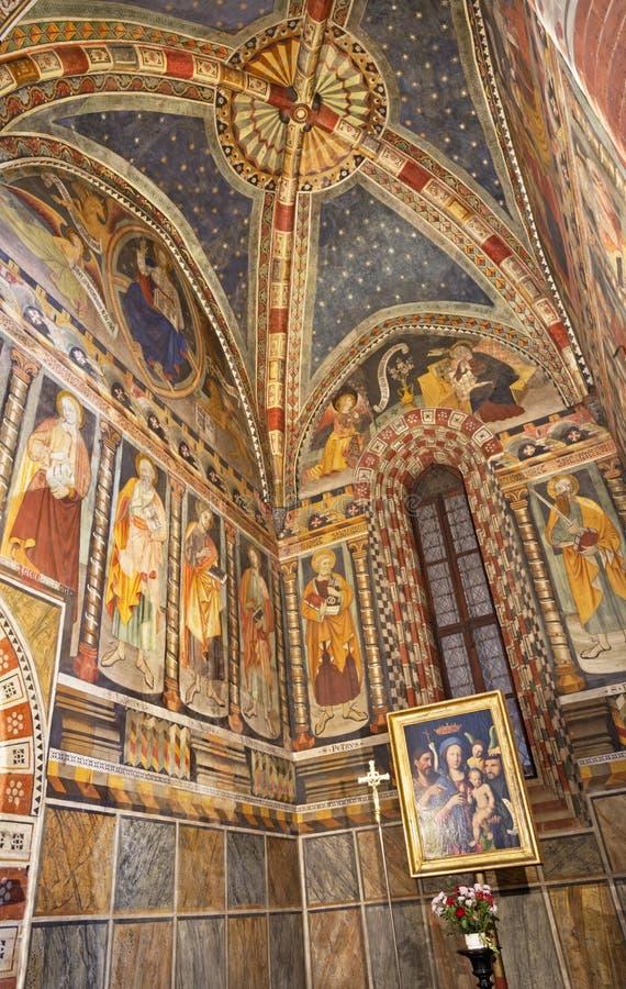 TURIN, ITALY - MARCH 14, 2017: The fresco in church Chiesa di San Domenico and Capella delle Grazie by unknown artist of 16. cent.  stock photography