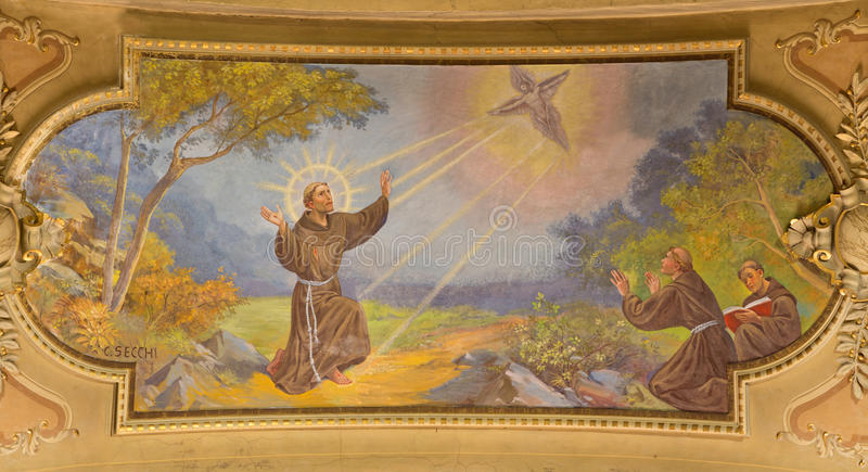 TURIN, ITALY - MARCH 13, 2017: The fresco of Stigimatization of St. Francis of Asissi in ceiling of Church Chiesa di Santo Tomaso royalty free stock image