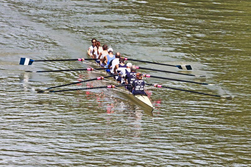 Turin, Italy May 9, 2014 athletes enjoy outdoors sports, they are rowing in the Po royalty free stock photo