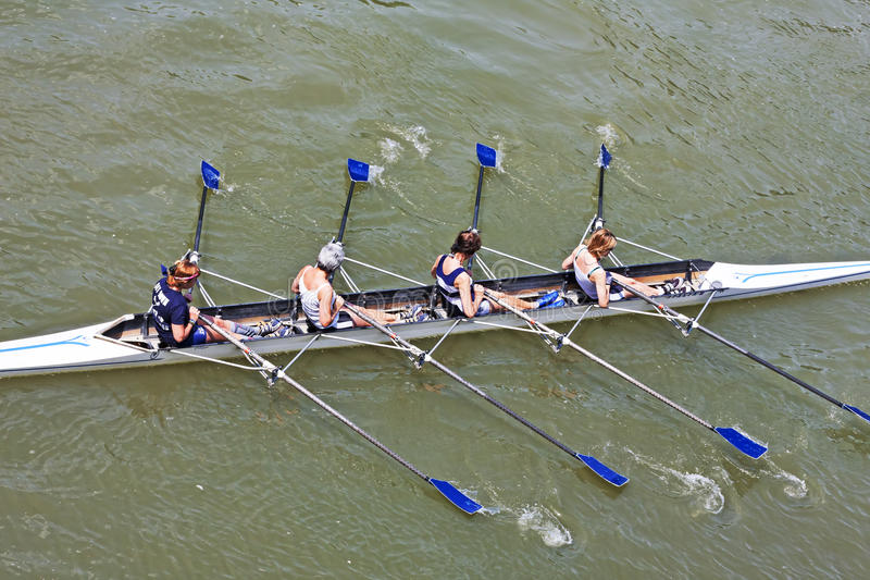 Turin, Italy 05 May 2014 Athletes enjoy outdoors sports, they are rowing in the Po stock image