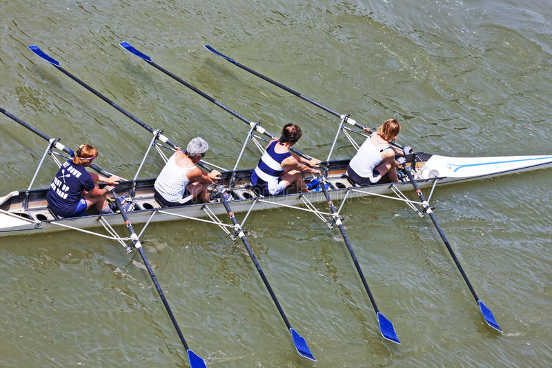Turin, Italy 05 May 2014 Athletes enjoy outdoors sports, they are rowing in the Po royalty free stock images