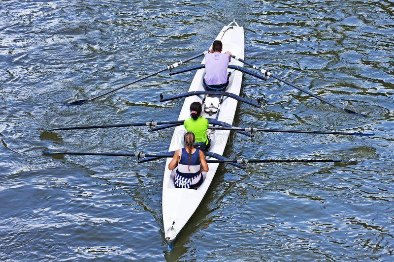 Turin, Italy 05 May 2014 Athletes enjoy outdoors sports, they are rowing in the Po stock photos