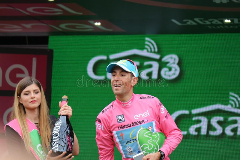 Giro D`Italia 2016. TURIN, ITALY - MAY 29: Cyclist Vincenzo Nibali, Astana Pro Team, stands on the podium after the 21th stage of Giro D`Italia 2016 on May 29 stock photography