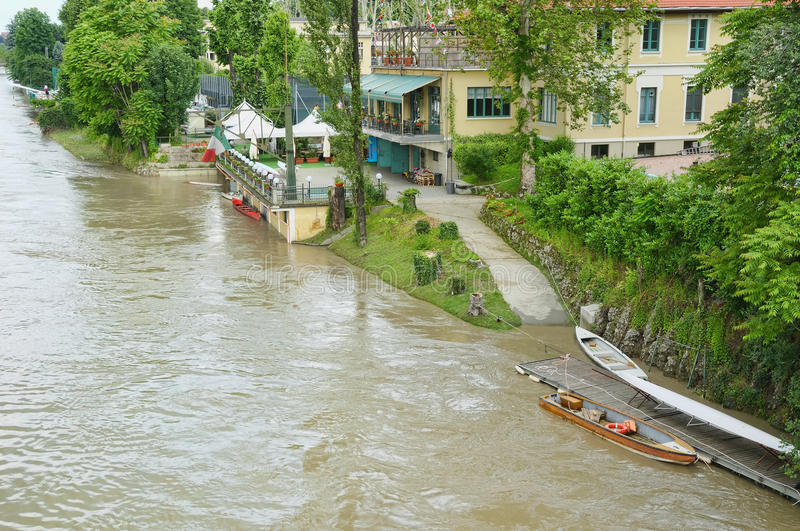 Riverside during flooding on river Po. TURIN, ITALY-MAY 31: Restaurants and clubs of the riverside during flooding on river Po on May 31, 2008 in Turin royalty free stock image
