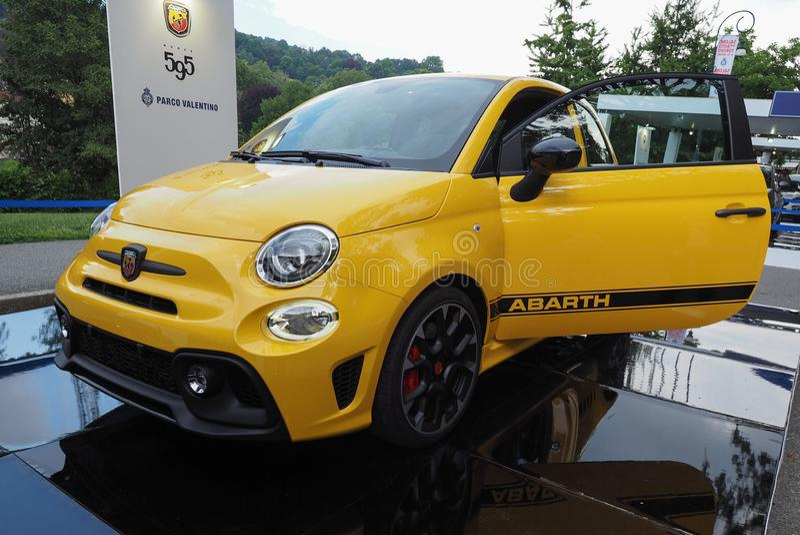 TURIN - JUN 2016: Abarth 595 car. TURIN, ITALY - CIRCA JUNE 2016: Abarth 595 car royalty free stock images