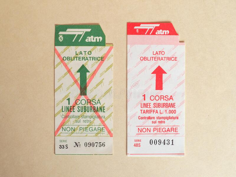 TURIN - JUN 2020: Vintage Turin public transport ticket royalty free stock images