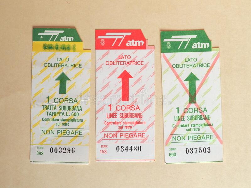 TURIN - JUN 2020: Vintage Turin public transport ticket stock photo