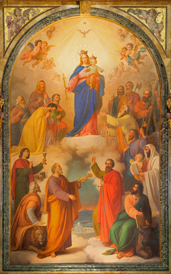 Turin - la peinture de Madonna avec l'enfant sur l'autel de mine dans la basilique Maria Ausiliatrice d'église par Tommaso Lorenz image stock