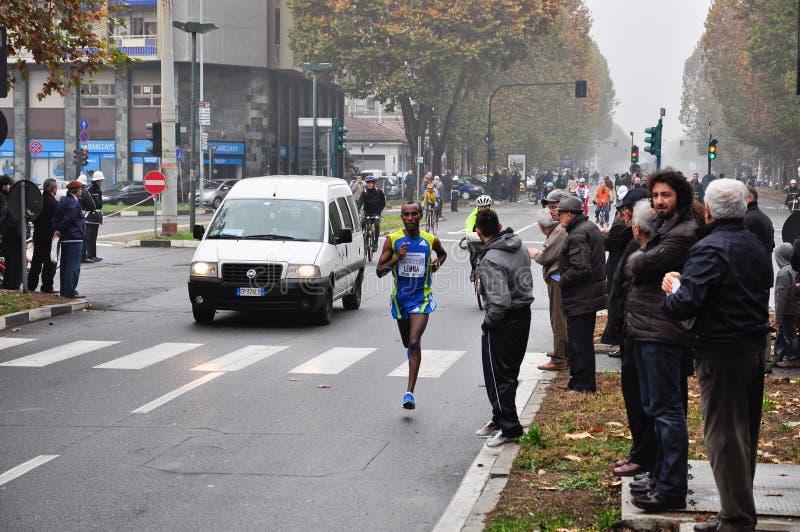 Turin Marathon 2010, Lemma Habteselassie, Ethiopia. TURIN - NOVEMBER 14: The 3rd ranked in the international competition Turin Marathon, Lemma Habteselassie royalty free stock image