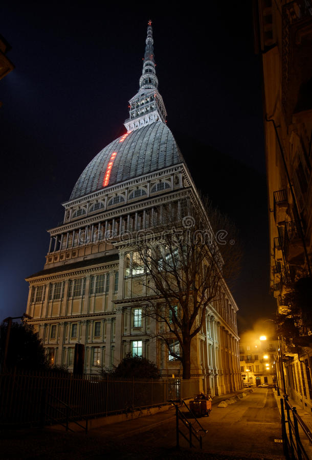 Download Turin - Mole Antonelliana In The Night Light Stock Image - Image of columns, piedmont: 37038847