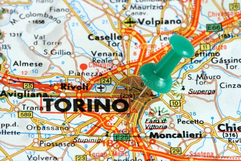 Turin no mapa imagem de stock