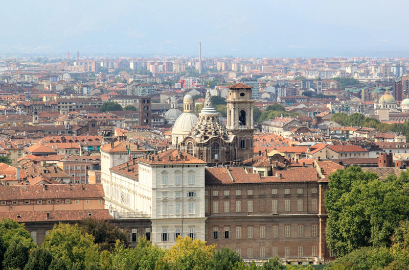 Turin and the Palazzo Reale, Italy. View at Turin from the Mole Antonelliana. In the centre Royal Palace of Turin or Palazzo Reale, the royal palace of the House stock photography