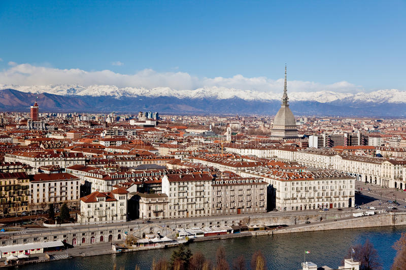 Turin panoramic view. Winter clear day; Italy, Europe royalty free stock image