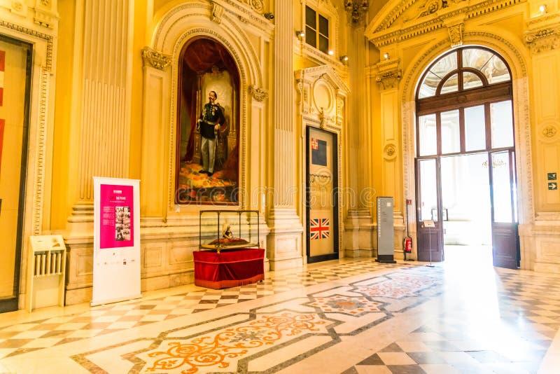 Turin, Piedmont, Itália, o 19 de agosto de 2017 Sala interior de Carigna fotografia de stock