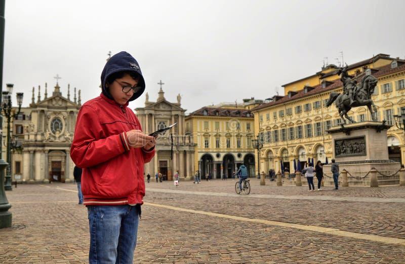 Turin, Piedmont, Italien April 2019 Marktplatz San Carlo lizenzfreie stockbilder