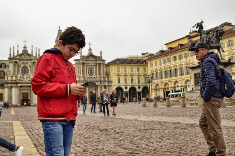 Turin, Piedmont, Italien April 2019 Marktplatz San Carlo lizenzfreie stockfotos