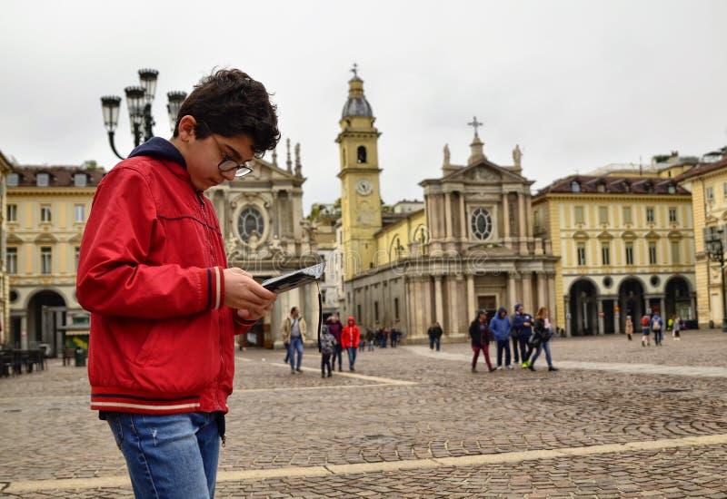 Turin, Piedmont, Italy. April 2019. Piazza San Carlo royalty free stock photo