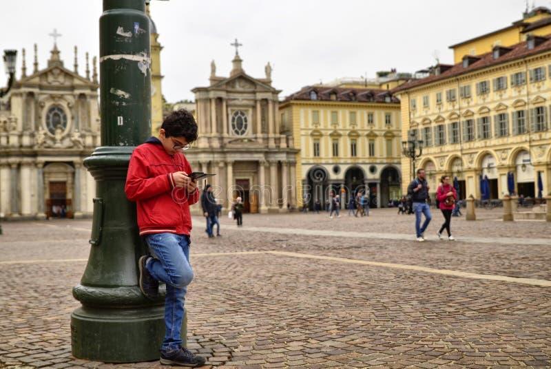 Turin, Piedmont, Italy. April 2019. Piazza San Carlo stock photos