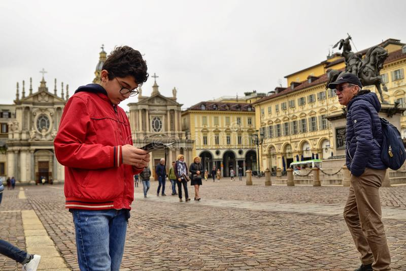 Turin, Piedmont, Italy. April 2019. Piazza San Carlo royalty free stock photos