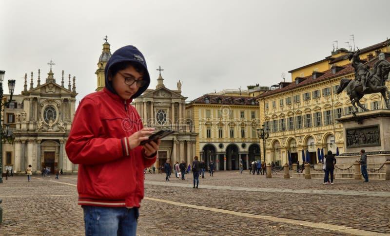 Turin, Piedmont, Italy. April 2019. Piazza San Carlo stock photo