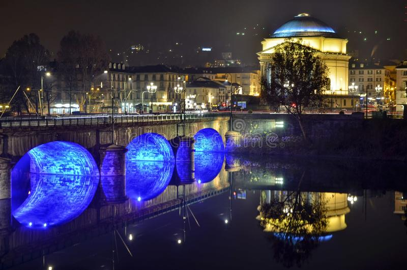 Turin, Piedmont, Italy Em dezembro de 2018 A igreja da grande mãe do deus fotografia de stock