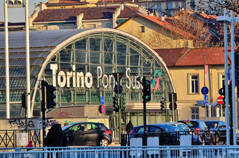 Turin, Piedmont, Italy. January 2019. Porta Susa railway station. Modern and futuristic structure in glass and steel royalty free stock photography