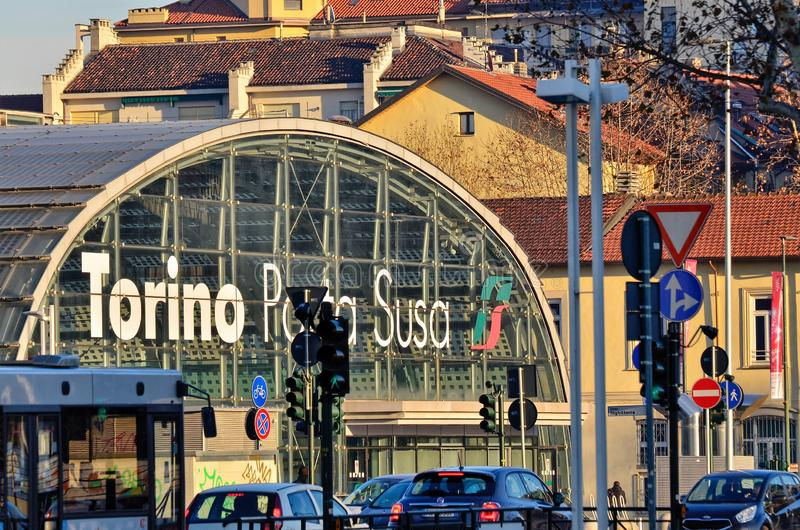 Turin, Piedmont, Italy. January 2019. Porta Susa railway station. Modern and futuristic structure in glass and steel royalty free stock image