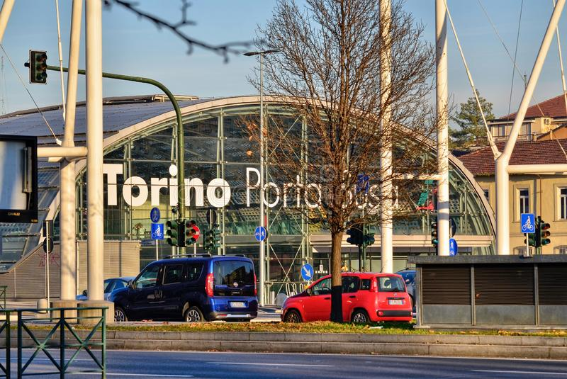 Turin, Piedmont, Italy. January 2019. Porta Susa railway station. Modern and futuristic structure in glass and steel stock images