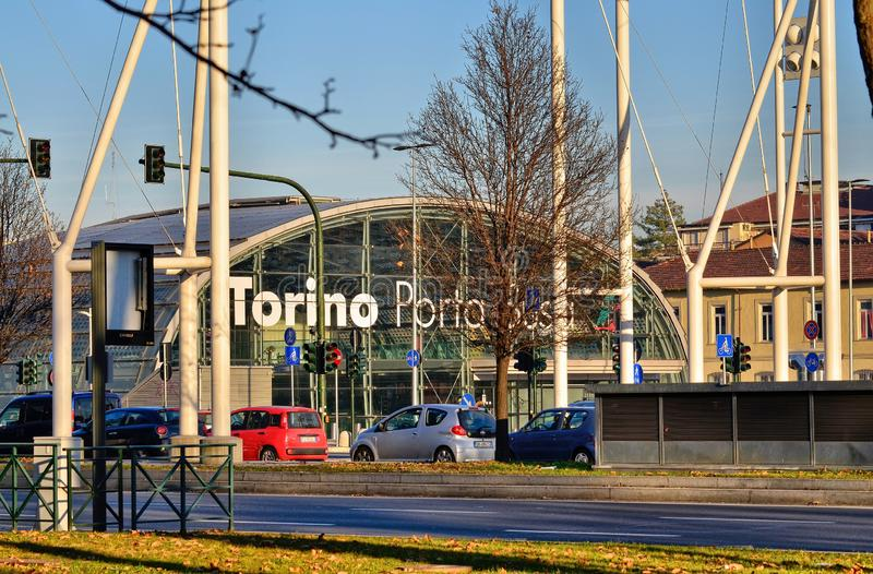 Turin, Piedmont, Italy. January 2019. Porta Susa railway station. Modern and futuristic structure in glass and steel royalty free stock images