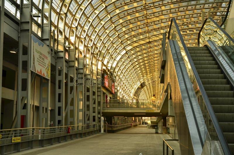 Turin, Piedmont, Italy. Porta Susa railway station, escalators. Turin, Piedmont, Italy. February 2019. Porta Susa railway station, modern and futuristic stock photos