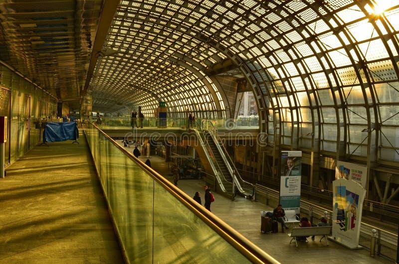 Turin, Piedmont, Italy. Porta Susa railway station, escalators. Turin, Piedmont, Italy. February 2019. Porta Susa railway station, modern and futuristic royalty free stock photo