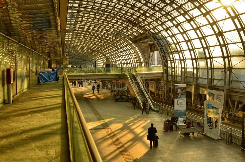 Turin, Piedmont, Italy. Porta Susa railway station, escalators. Turin, Piedmont, Italy. February 2019. Porta Susa railway station, modern and futuristic stock image