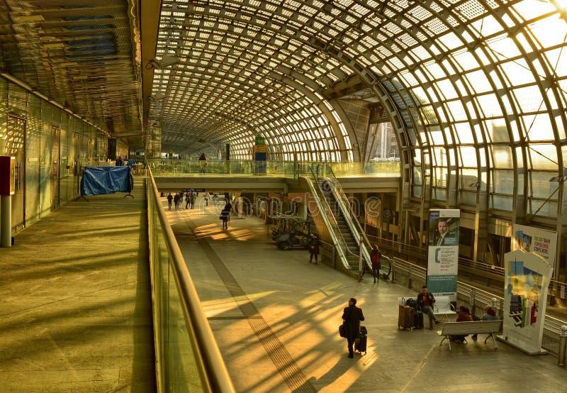 Turin, Piedmont, Italy. Porta Susa railway station, escalators. Turin, Piedmont, Italy. February 2019. Porta Susa railway station, modern and futuristic stock photography