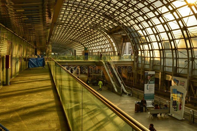 Turin, Piedmont, Italy. Porta Susa railway station, escalators. Turin, Piedmont, Italy. February 2019. Porta Susa railway station, modern and futuristic royalty free stock photography