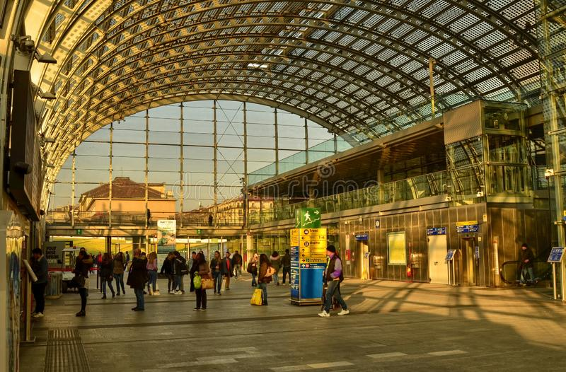 Turin, Piedmont, Italy. Porta Susa railway station. Turin, Piedmont, Italy. February 2019. Porta Susa railway station, modern and futuristic structure in glass stock image