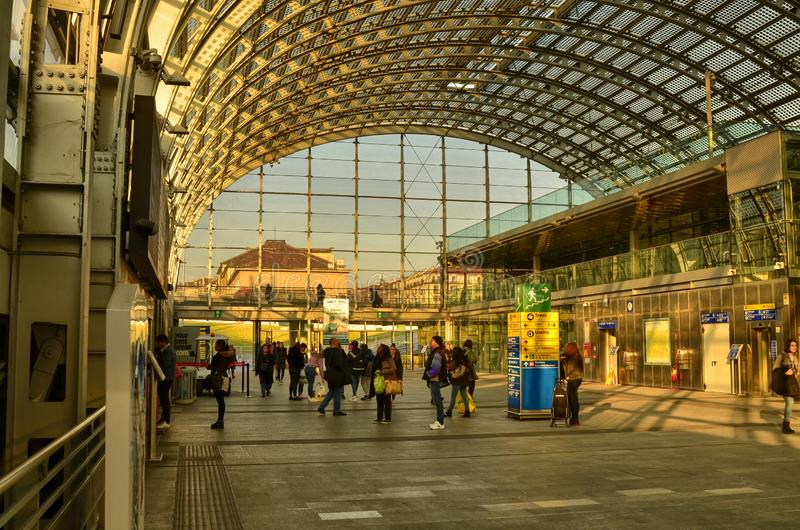 Turin, Piedmont, Italy. Porta Susa railway station. Turin, Piedmont, Italy. February 2019. Porta Susa railway station, modern and futuristic structure in glass stock images