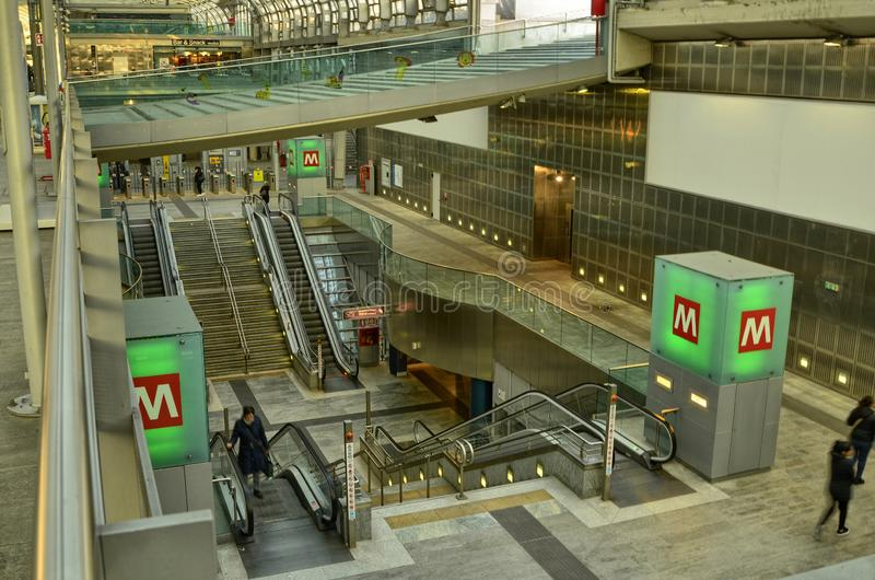 Turin, Piedmont, Italy. Porta Susa railway station. Turin, Piedmont, Italy. February 2019. Porta Susa railway station, modern and futuristic structure in glass royalty free stock images