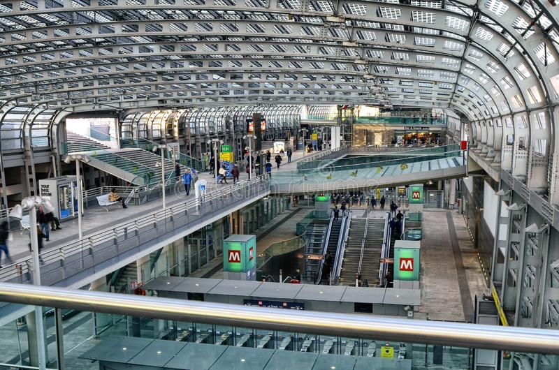 Turin, Piedmont, Italy. Porta Susa railway station. Turin, Piedmont, Italy. February 2019. Porta Susa railway station, modern and futuristic structure in glass royalty free stock photography
