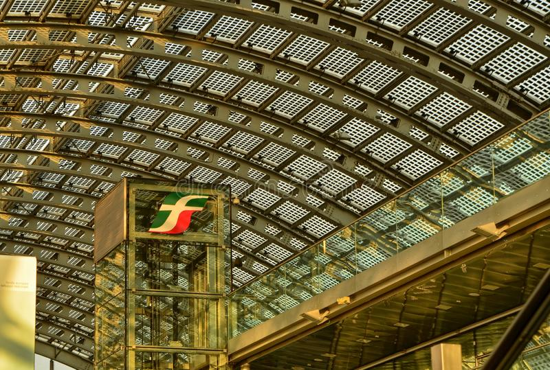 Turin, Piedmont, Italy. Porta Susa railway station. Turin, Piedmont, Italy. February 2019. Porta Susa railway station, modern and futuristic structure in glass stock photography