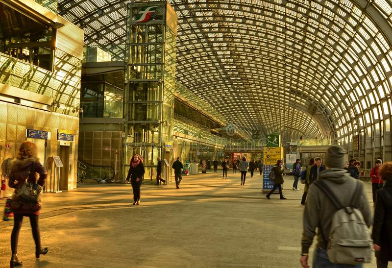 Turin, Piedmont, Italy. Porta Susa railway station. Turin, Piedmont, Italy. February 2019. Porta Susa railway station, modern and futuristic structure in glass royalty free stock image